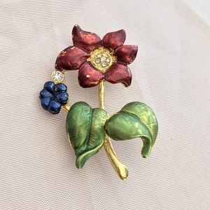 Vintage Rhinestone Gold & Blue Flower Brooch